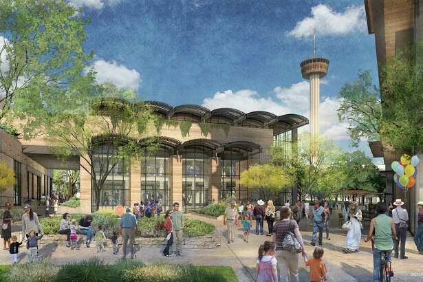A rendering of a proposed mixed-use development showing the market view at Hemisfair. Local developer Zachry Corp.'s $200 million mixed-use project at Hemisfair is designed to feel new while evoking San Antonio's 300-year architectural history. The Historic and Design Review Commission unanimously voted to grant initial approval to the developer's plan to build a 14-story hotel, an eight-story office tower and a food market on Alamo Street at Hemisfair's northwest corner, surrounding Civic Park, a planned nine-acre public park.