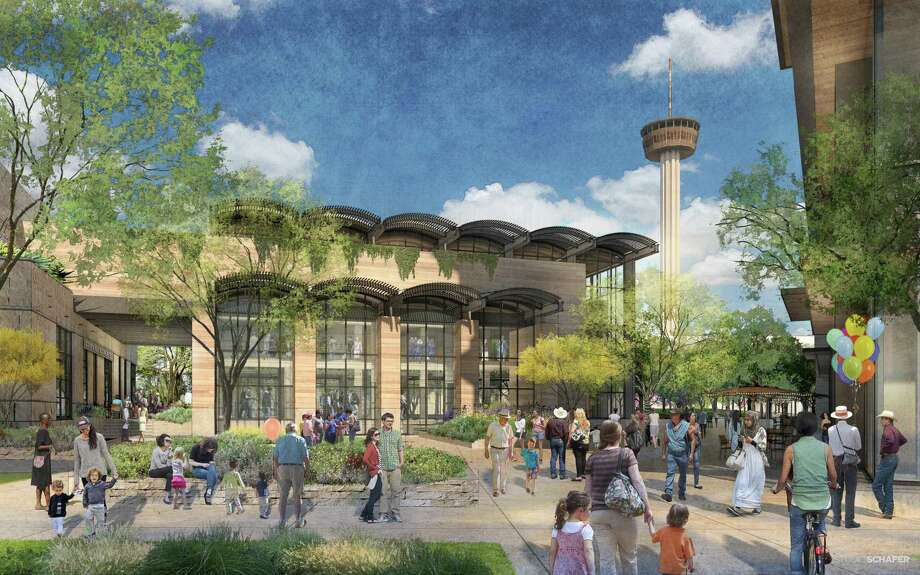 A rendering of a proposed mixed-use development showing the market view at Hemisfair. Local developer Zachry Corp.'s $200 million mixed-use project at Hemisfair is designed to feel new while evoking San Antonio's 300-year architectural history. The Historic and Design Review Commission unanimously voted to grant initial approval to the developer's plan to build a 14-story hotel, an eight-story office tower and a food market on Alamo Street at Hemisfair's northwest corner, surrounding Civic Park, a planned nine-acre public park. Photo: /Rendering Courtesy Of Zachry Corporation