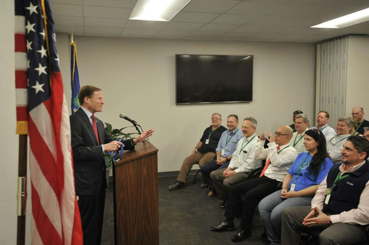 U.S. Sen. Richard Blumenthal, D-Connecticut, visited FuelCell Energy in Torrington Wednesday to discuss a fresh tax credit for the industry and tour the recently-expanded factory.
