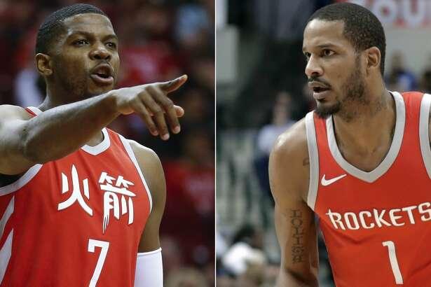 Split photo of Rockets' Joe Johnson and Trevor Ariza.