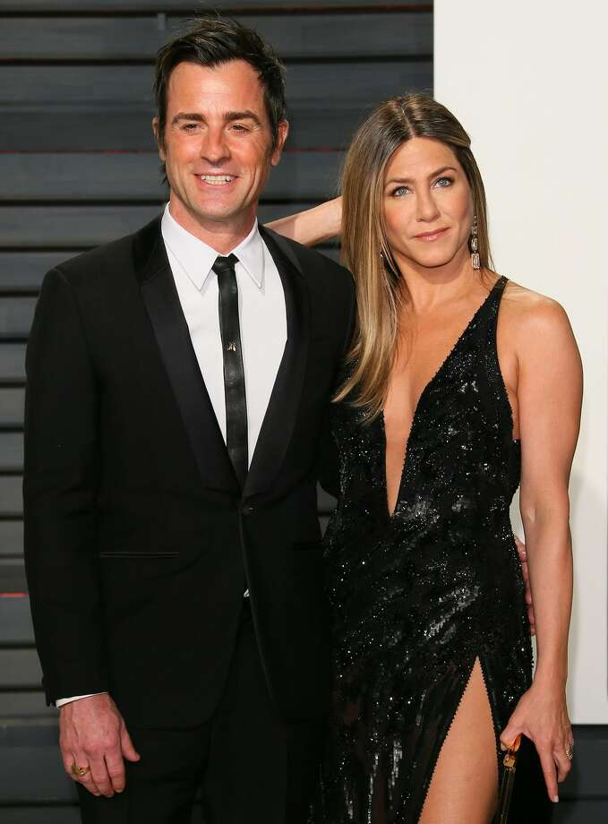 "Jennifer Aniston and Justin Theroux: Unlucky in love? Just two years after their secret backyard wedding, the former ""Friends"" actress and her ""Wanderlust"" co-star announced their split the day after Valentine's Day. Photo: Getty Images"