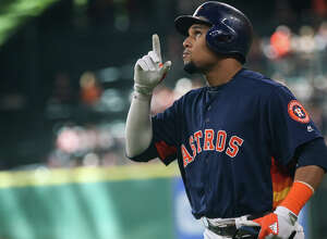 Centerfielder Carlos Gomez, of the Houston Astros, reacts after hitting a single during the MLB game against the Oakland Athletics on Sunday, July 10, 2016, at Minute Maid Park. To view more photos from the game, go to HCNPics.com.