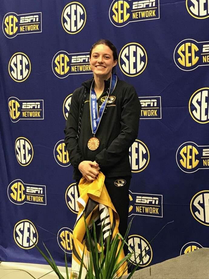Montgomery High School graduate and University of Missouri senior Madeline McKernan took third place and earned a bronze medal in platform diving on Sunday at the SEC Swimming and Diving Championships that were held at Texas A&M. Photo: Submitted