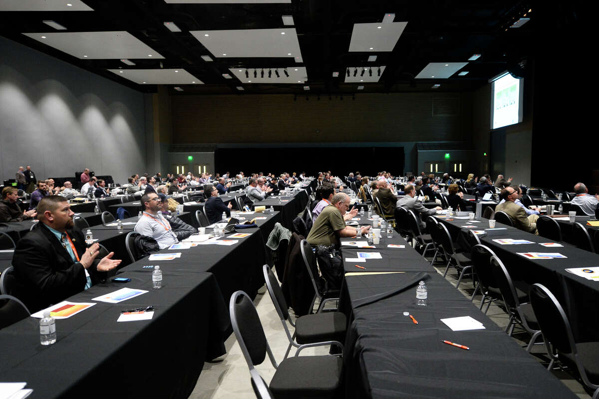 Conference attendees listen to speakers during the Permian Basin Water in Energy Conference Feb. 21, 2018, at Horseshoe Pavillion. James Durbin/Reporter-Telegram