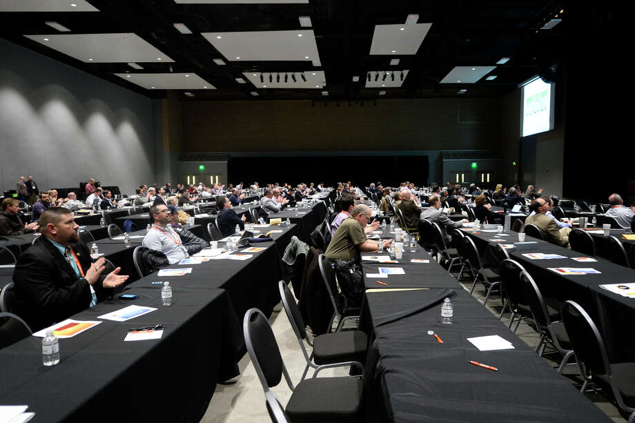 Conference attendees listen to speakers during the Permian Basin Water in Energy Conference Feb. 21, 2018, at Horseshoe Pavillion.  James Durbin/Reporter-Telegram Photo: James Durbin