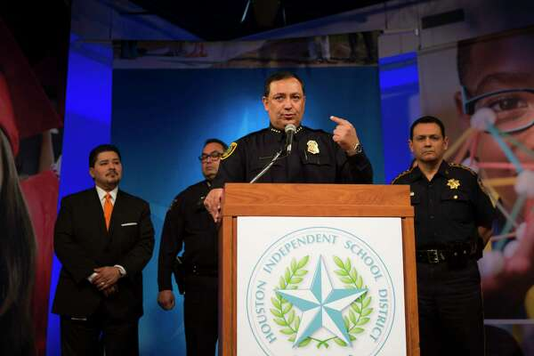 Houston Police Department Chief Art Acevedo speaks to the media during a press conference addressing security at Houston-area schools, Wednesday, Feb. 21, 2018, in Houston.  ( Mark Mulligan / Houston Chronicle )