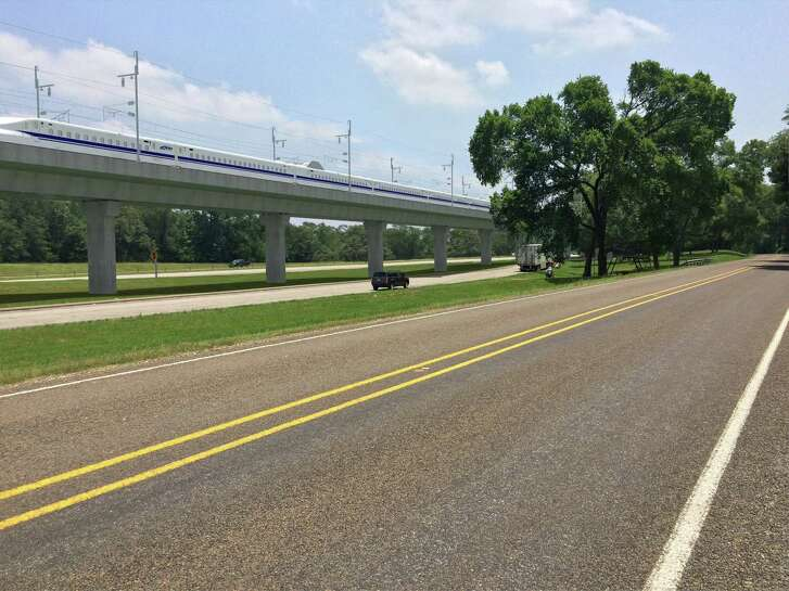 The high-speed train proposed by Texas Central Partners would run on tracks elevated on berms or concrete supports, as seen in these renderings the company released on Feb. 5. (Texas Central Partners)
