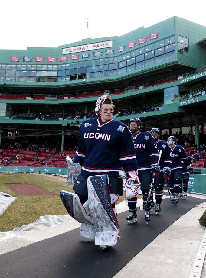 """BOSTON, MA - JANUARY 14: Tanner Creel #1 of the Connecticut Huskies walks towards the ice surface during an NCAA hockey game against the Maine Black Bears at Fenway Park during """"Frozen Fenway"""" on January 14, 2017 in Boston, Massachusetts. The Black Bears won 4-0. (Photo by Richard T Gagnon/Getty Images) Photo: Richard T Gagnon / Getty Images / 2017 Richard T Gagnon"""