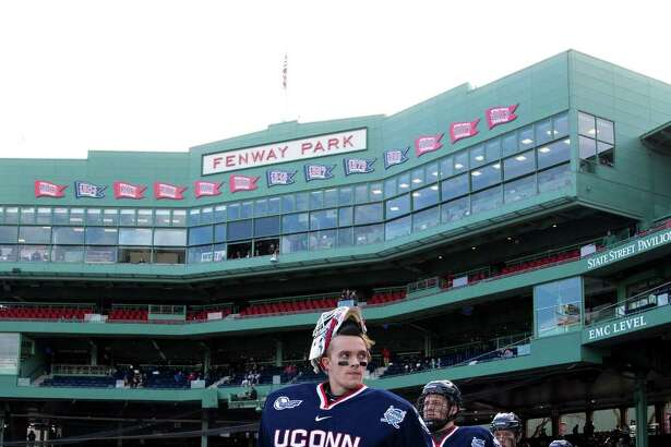 "BOSTON, MA - JANUARY 14: Tanner Creel #1 of the Connecticut Huskies walks towards the ice surface during an NCAA hockey game against the Maine Black Bears at Fenway Park during ""Frozen Fenway"" on January 14, 2017 in Boston, Massachusetts. The Black Bears won 4-0. (Photo by Richard T Gagnon/Getty Images)"