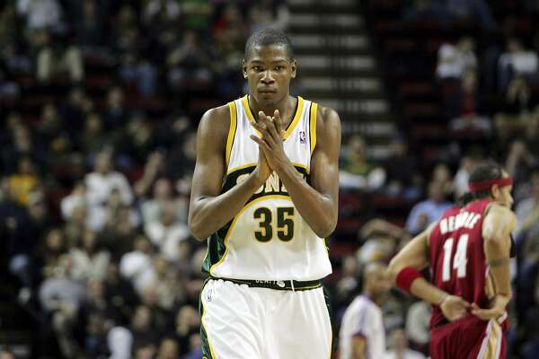 Seattle SuperSonics' Kevin Durant after making a shot at the buzzer in the first quarter against Cleveland Cavaliers' in NBA action in Seattle on Thursday, Jan. 31, 2008. (AP Photo/Kevin P. Casey)