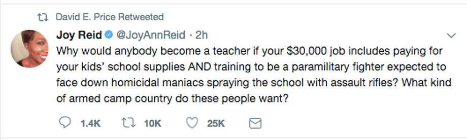 Politicians, shooting survivors and observers took to Twitter to comment on President Trump's suggestion that arming teachers might curb the problem of school shootings. Photo: Screenshot Via Twitter