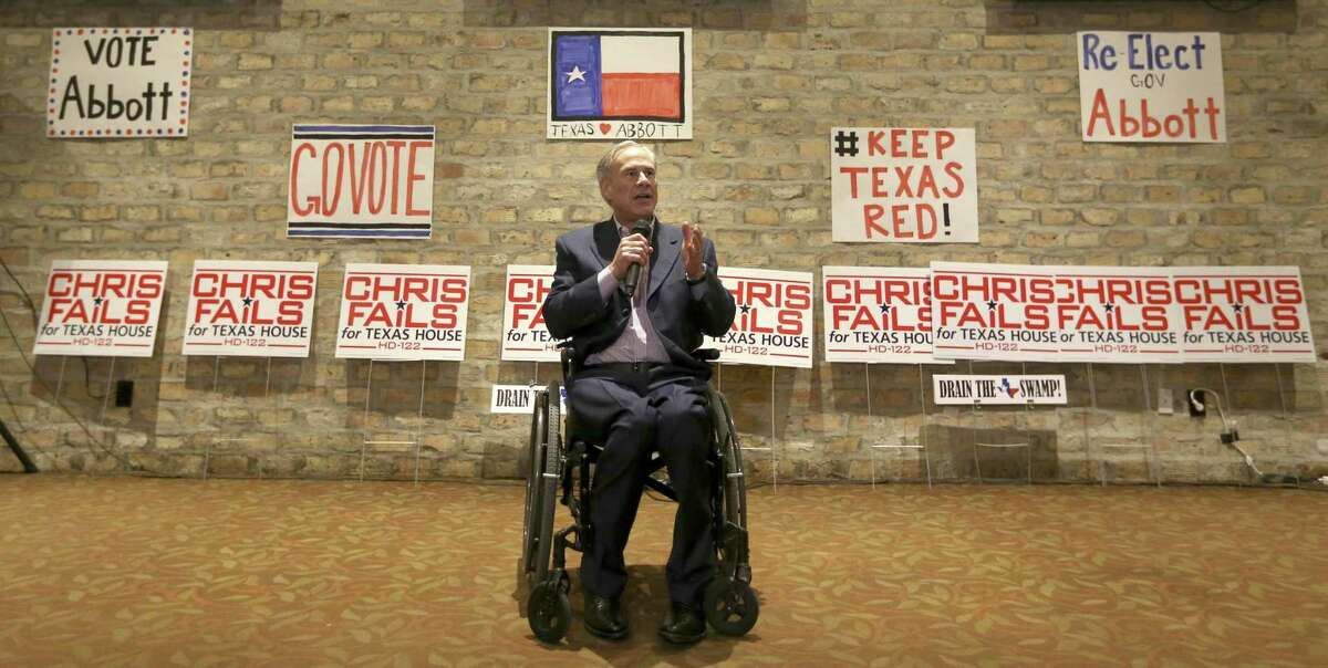 Texas Gov. Greg Abbott campaigns Wednesday, Feb. 21, 2018 at Alamo Cafe in San Antonio for State House District 122 republican primary candidate Chris Fails.
