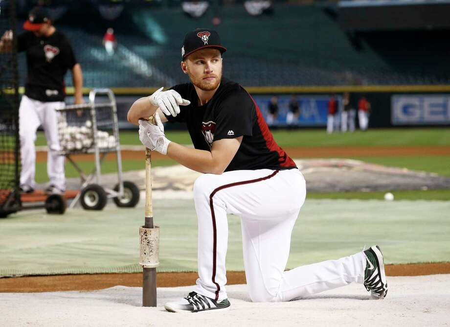 FILE - In this Wednesday, Oct. 4, 2017 file photo, Arizona Diamondbacks second baseman Brandon Drury waits to hit prior to the National League wild-card playoff baseball game against the Colorado Rockies in Phoenix. The Arizona Diamondbacks have sent infielder Brandon Drury to the New York Yankees and received outfielder Steven Souza Jr. from the Tampa Bay Rays in a three-team trade that includes five players, Tuesday, Feb. 20, 2018. (AP Photo/Ross D. Franklin) Photo: Ross D. Franklin / Copyright 2017 The Associated Press. All rights reserved.