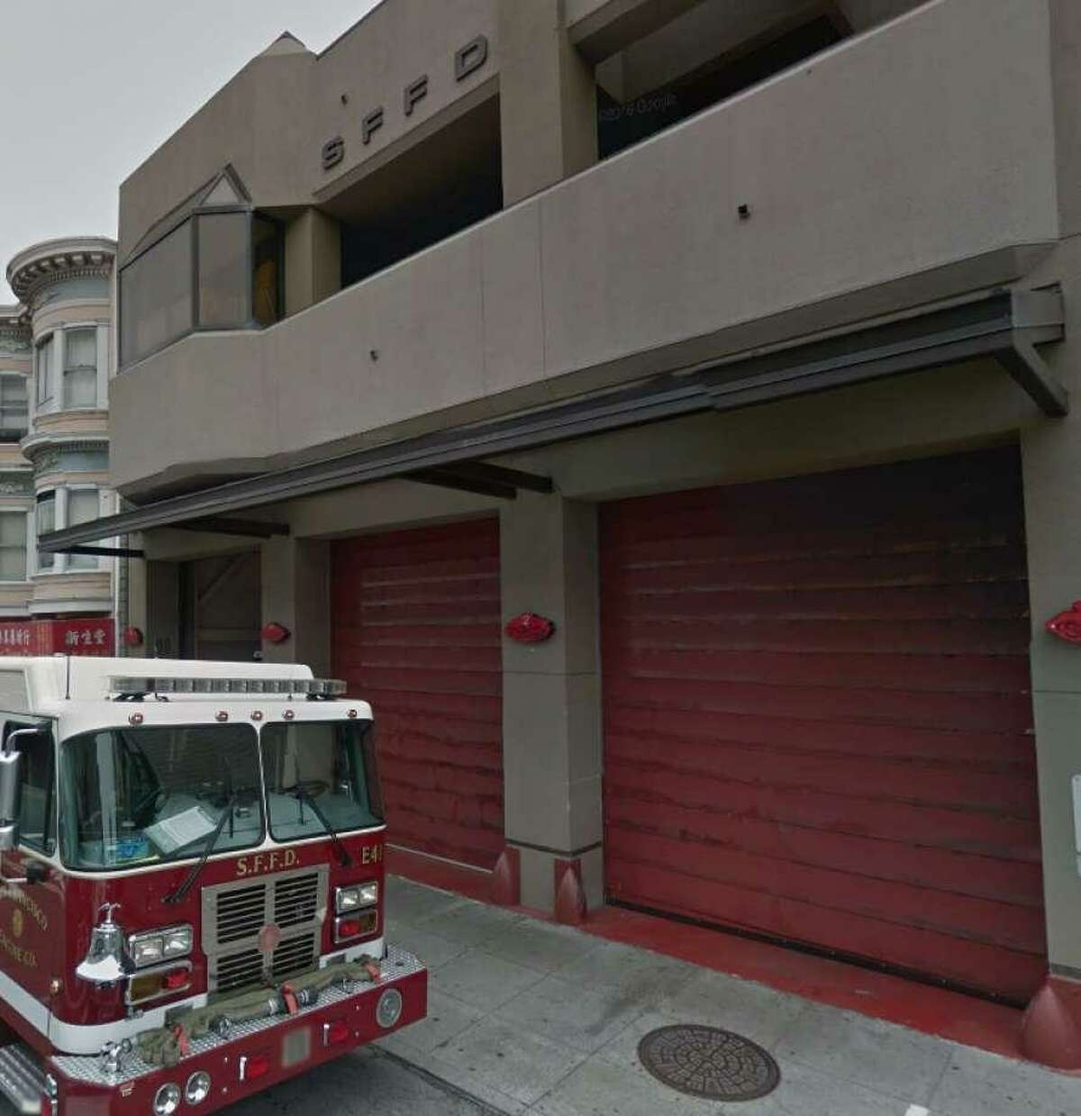 A view outside San Francisco Fire Department's Station 2 in Chinatown, where male firefighters were accused of harassing a female co-worker.