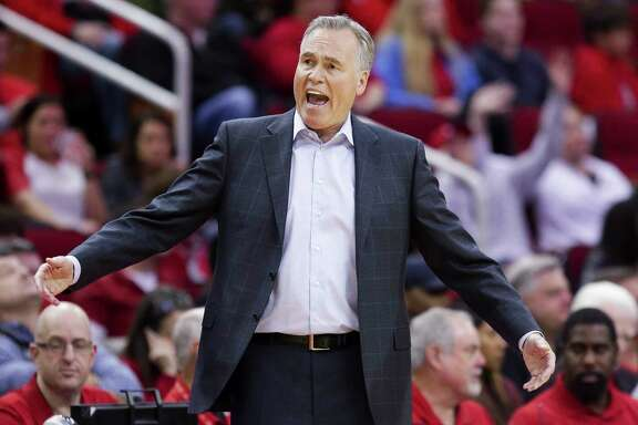 Houston Rockets head coach Mike D'Antoni reacts to a call as the Houston Rockets beat the Dallas Mavericks 104-97 at the Toyota Center Sunday, Feb. 11, 2018 in Houston. (Michael Ciaglo / Houston Chronicle)