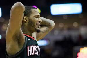Houston Rockets forward Trevor Ariza (1) reacts frustrated as the team keeps getting penalized during a game against the Los Angeles Lakers, Sunday, Dec. 31, 2017, in Houston. The Rockets won 148-142 on the second overtime. ( Marie D. De Jesus / Houston Chronicle )