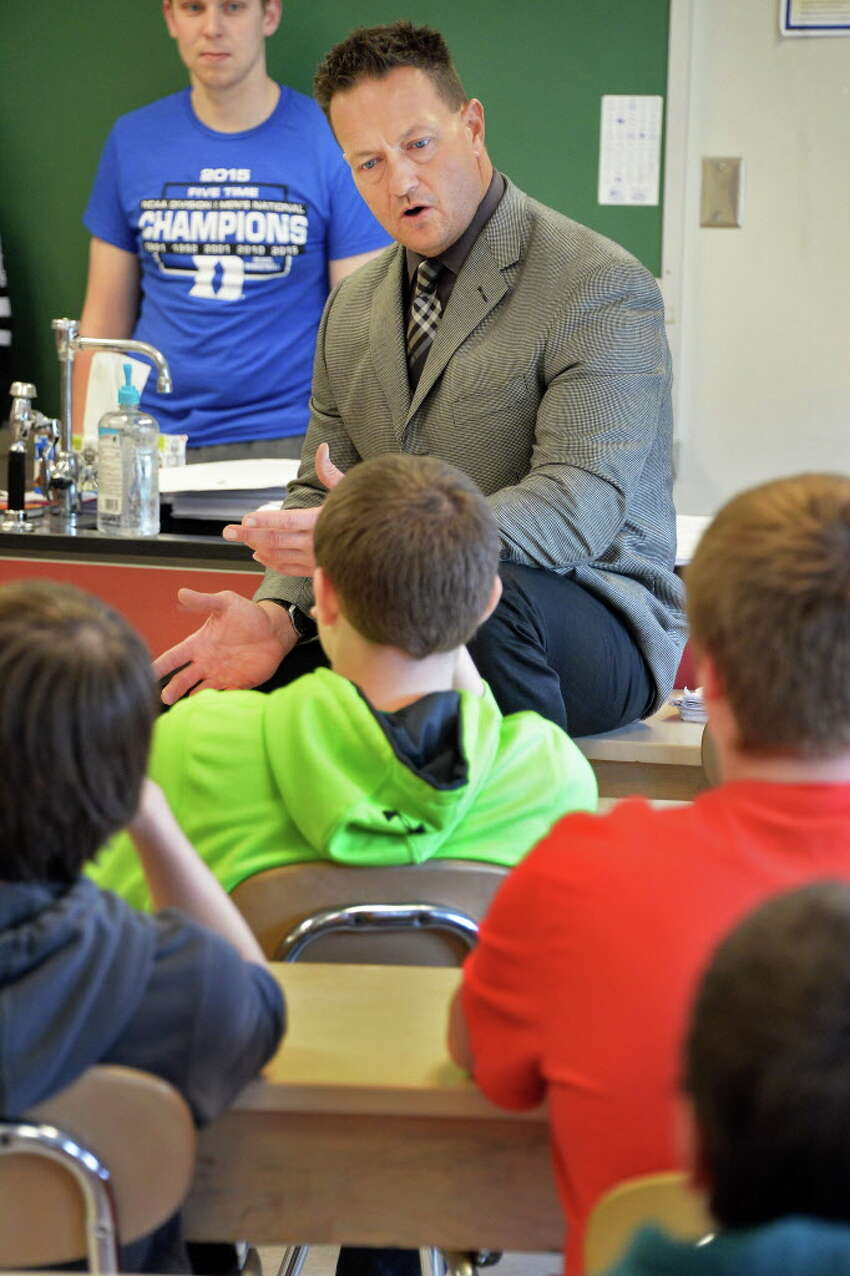 Columbia High School principal John Sawchuk introduces Columbia seniors to speak to middle school students about their experiences at Goff Middle School Friday April 24, 2015 in East Greenbush, NY. (John Carl D'Annibale / Times Union)