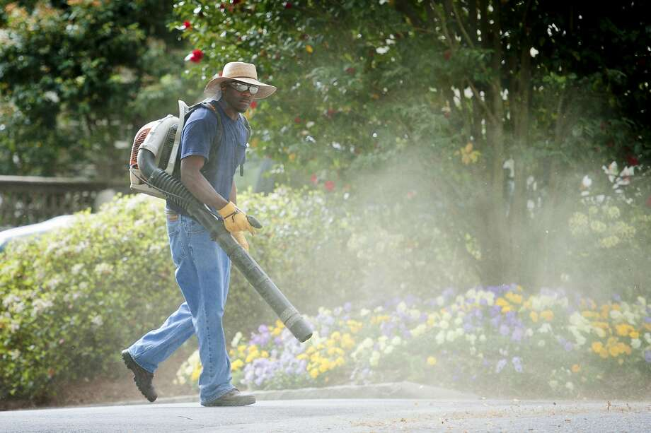 A lawn service worker kicks up a small cloud of pollen and tree debris. Spring has arrived in the Houston area, and that means high pollen levels. Scroll through to see the 50 worst cities for allergies Photo: RICH ADDICKS, NYT