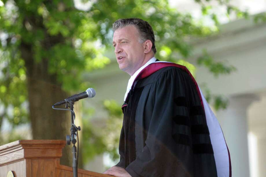 Journalist and author, Dylan Ratigan, a 1994 graduate of Union College, addresses those gathered for Union College commencement exercises on Sunday, June 10, 2012 in Schenectady, NY.  Ratigan received an honorary degree.  (Paul Buckowski / Times Union) Photo: Paul Buckowski / 00017204A