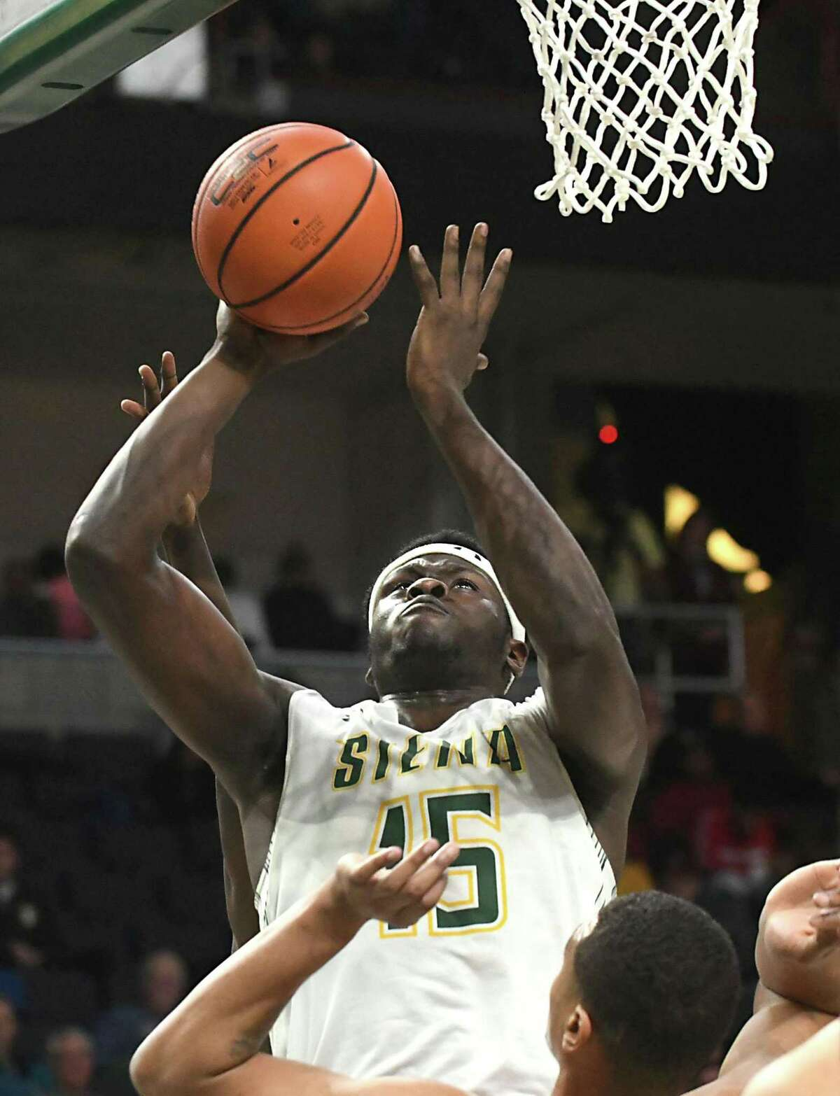 Siena's Prince Oduro goes up for a layup during a basketball game against Fairfield at Times Union Center on Wednesday, Feb. 21, 2018 in Albany, N.Y. (Lori Van Buren/Times Union)