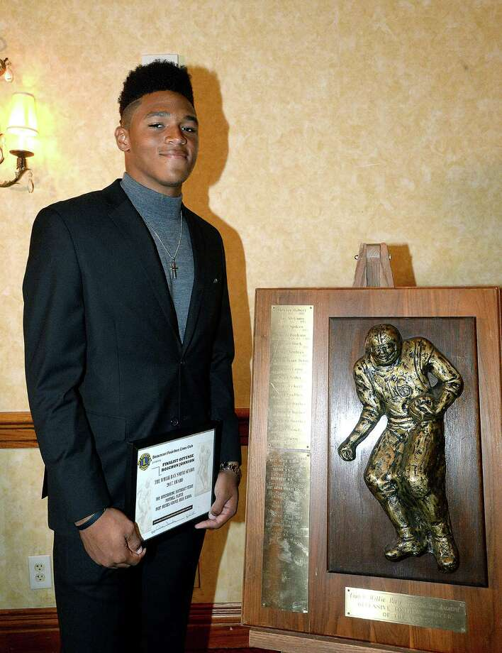 Port Neches - Groves' Roschon Johnson was announced as the Willie Ray Smith Award offensive player winner during a banquet at the MCM Elegante Hotel Wednesday. Four top offensive and defensive players from Southeast Texas vied for the pretigious awards. Photo taken Wednesday, February 21, 2018 Kim Brent/The Enterprise Photo: Kim Brent / BEN
