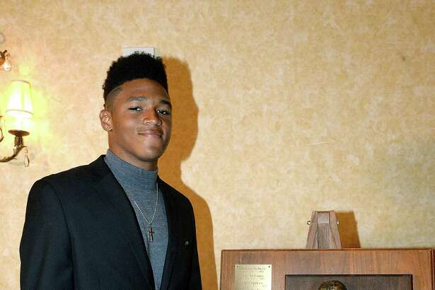 Port Neches - Groves' Roschon Johnson was announced as the Willie Ray Smith Award offensive player winner during a banquet at the MCM Elegante Hotel Wednesday. Four top offensive and defensive players from Southeast Texas vied for the pretigious awards. Photo taken Wednesday, February 21, 2018 Kim Brent/The Enterprise