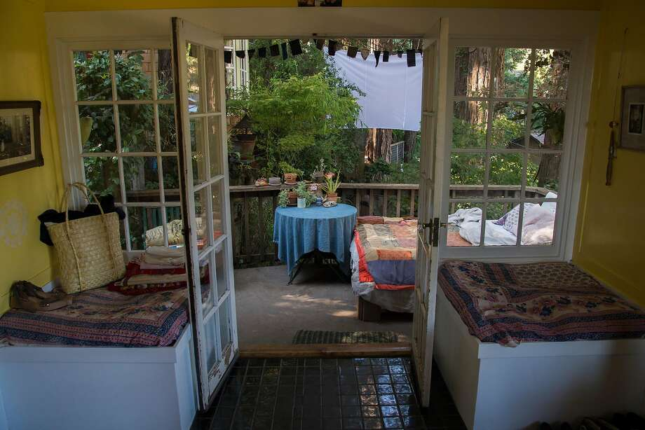 An outside bed is seen from the living room of the de Vries' home in Mill Valley. Photo: Nic Coury, Special To The Chronicle
