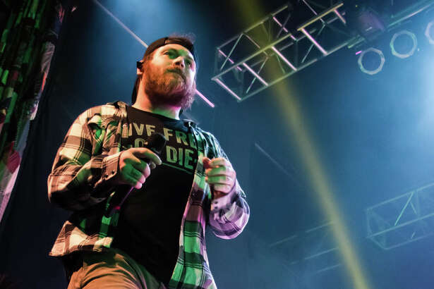 Asking Alexandria's Danny Worsnop performs at the House of Blues on Saturday, Feb. 17, 2018, in Houston.