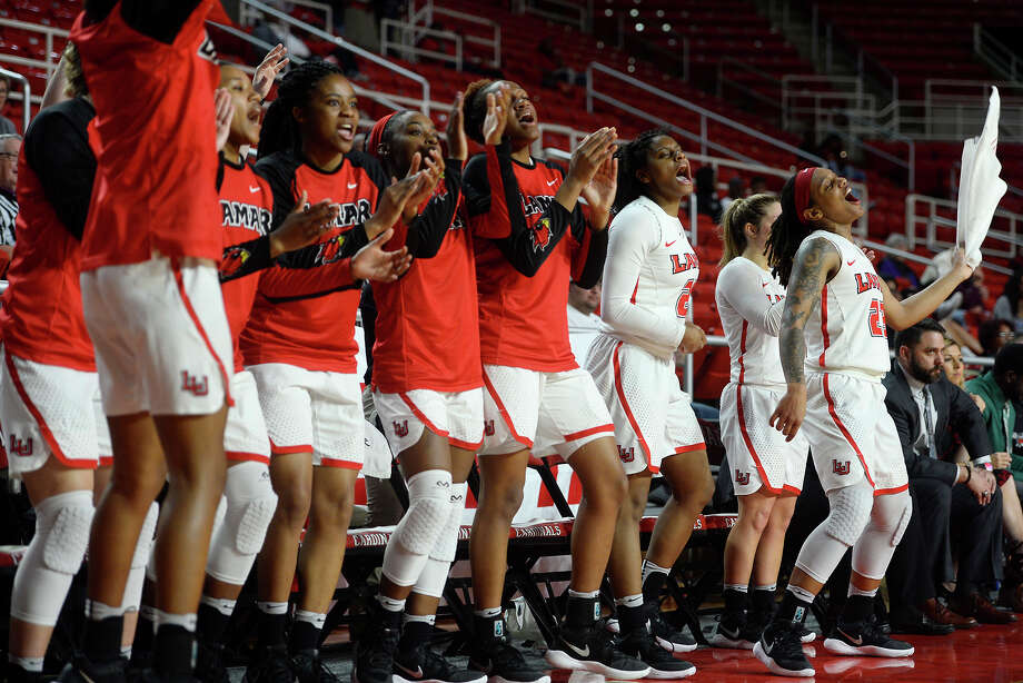 Lamar women's basketball players cheer from the bench during their final home game of the year against Houston Baptist. The team has been undefeated at home the past two years.  Photo taken Wednesday 2/21/18 Ryan Pelham/The Enterprise Photo: Ryan Pelham / ©2017 The Beaumont Enterprise/Ryan Pelham