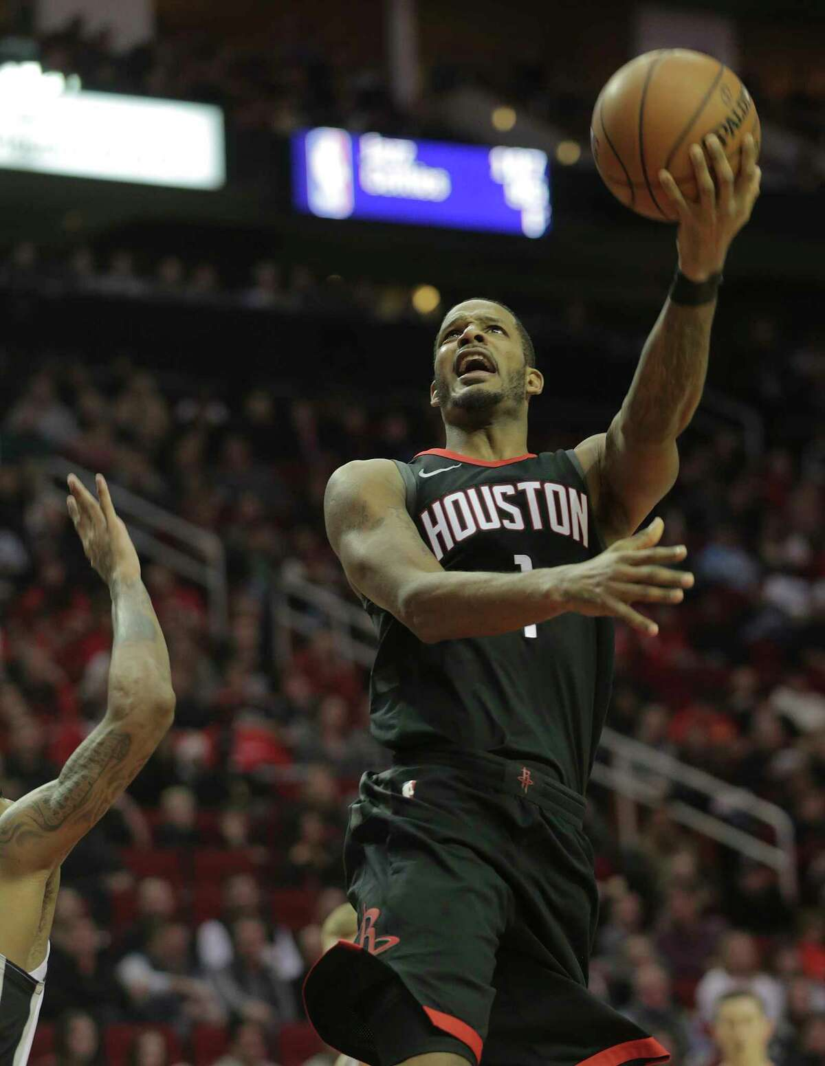 Houston Rockets forward Trevor Ariza (1) puts up two of his 11 points against the San Antonio Spurs at the Toyota Center on Friday, Dec. 15, 2017, in Houston. ( Elizabeth Conley / Houston Chronicle )