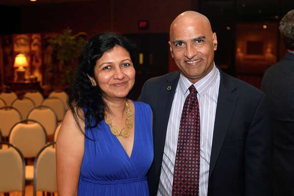 """Srinivas and Subha Palanki at the ExxonMobil BEST and Lamar University """"Honoring Living Legends"""" event on Wednesday night. The event was held to recognize African-American leaders in the community during Black History Month. Those honored included Annie Carter, Amber Lucas, Constable Christopher Bates, Christopher Williams, Johnny Hulin and Norman Bellard.  Photo taken Wednesday 2/21/18 Ryan Pelham/The Enterprise"""