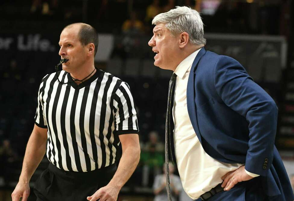Siena head coach Jimmy Patsos yells from the sideline during a basketball game against Fairfield at Times Union Center on Wednesday, Feb. 21, 2018 in Albany, N.Y. (Lori Van Buren/Times Union)