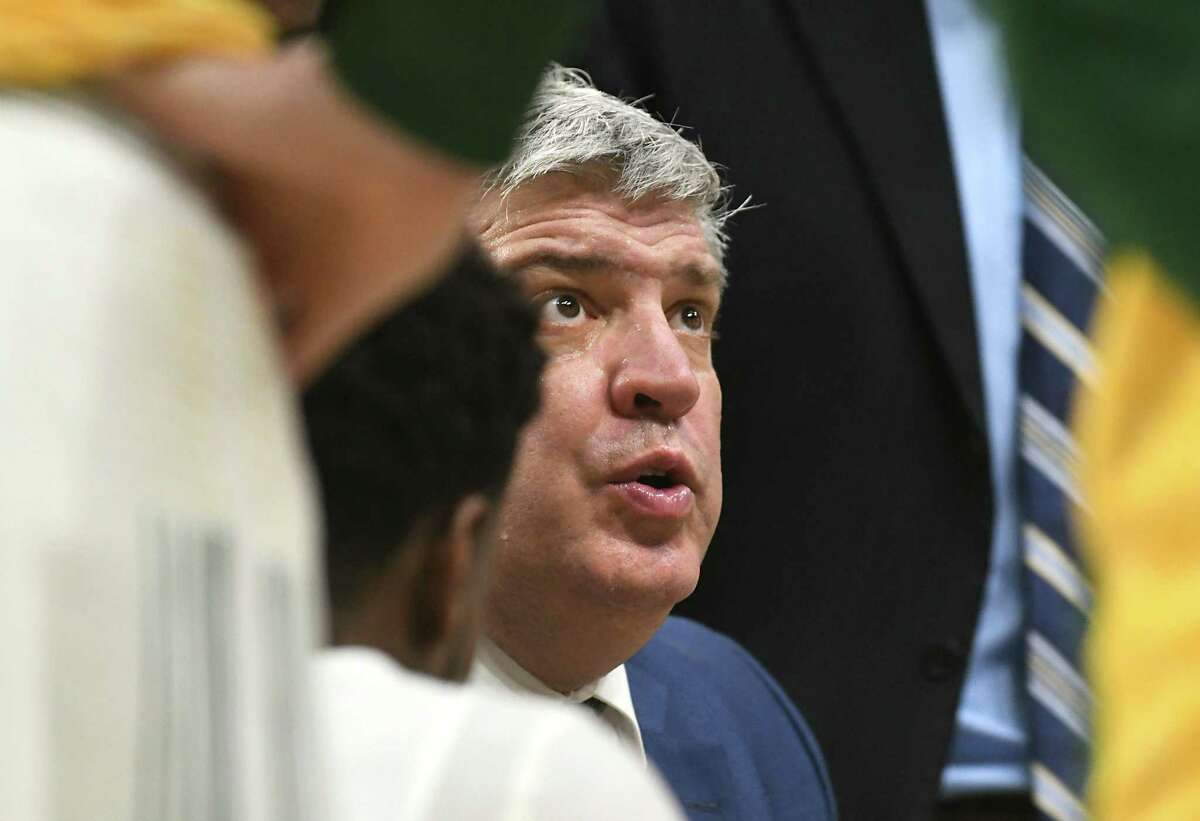 Siena head coach Jimmy Patsos talks to his team at a timeout during a basketball game against Fairfield at Times Union Center on Wednesday, Feb. 21, 2018 in Albany, N.Y. (Lori Van Buren/Times Union)