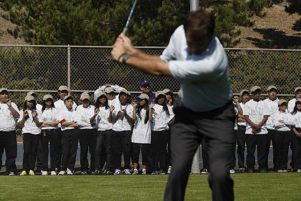 In collaboration with sponsors, The First Tee of San Francisco and Citi Bank, Nick Faldo gives a few pointers to students at the grand opening of the golfing facility at Visitacion Valley Middle School on Wednesday Oct. 7, 2009 in San Francisco, Calif.