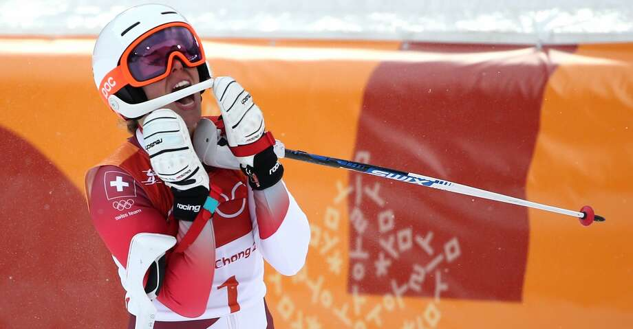 PYEONGCHANG-GUN, SOUTH KOREA - FEBRUARY 22:  Gold medalist, Michelle Gisin of Switzerland celebrates at the finish during the Ladies' Alpine Combined on day thirteen of the PyeongChang 2018 Winter Olympic Games at Yongpyong Alpine Centre on February 22, 2018 in Pyeongchang-gun, South Korea.  (Photo by Dan Istitene/Getty Images) Photo: Dan Istitene/Getty Images