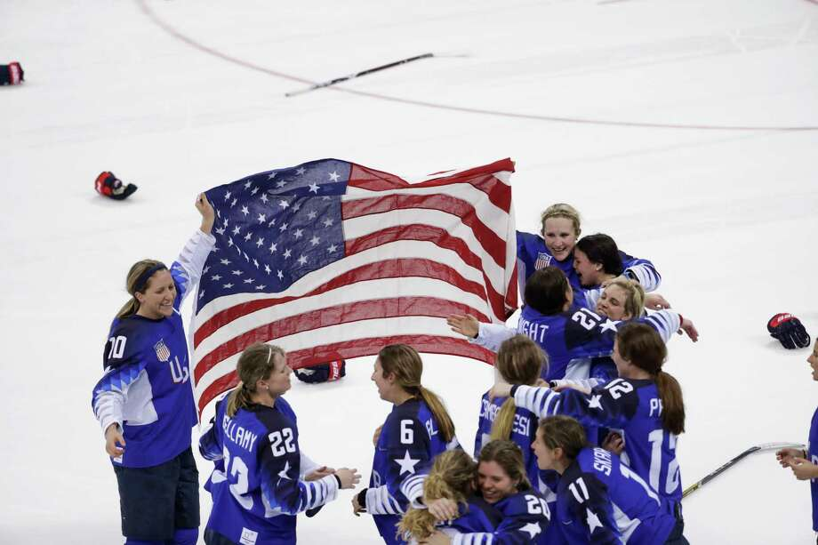 United States celebrates winning gold after the women's gold medal hockey game against Canada at the 2018 Winter Olympics in Gangneung, South Korea, Thursday, Feb. 22, 2018. Photo: Matt Slocum, AP / Copyright 2018 The Associated Press. All rights reserved