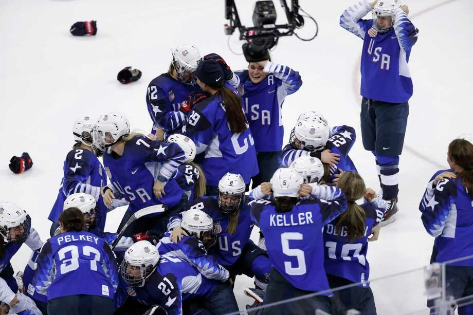 United States celebrates winning gold in the women's gold medal hockey game against Canada at the 2018 Winter Olympics in Gangneung, South Korea, Thursday, Feb. 22, 2018. Photo: Matt Slocum, AP / Copyright 2018 The Associated Press. All rights reserved