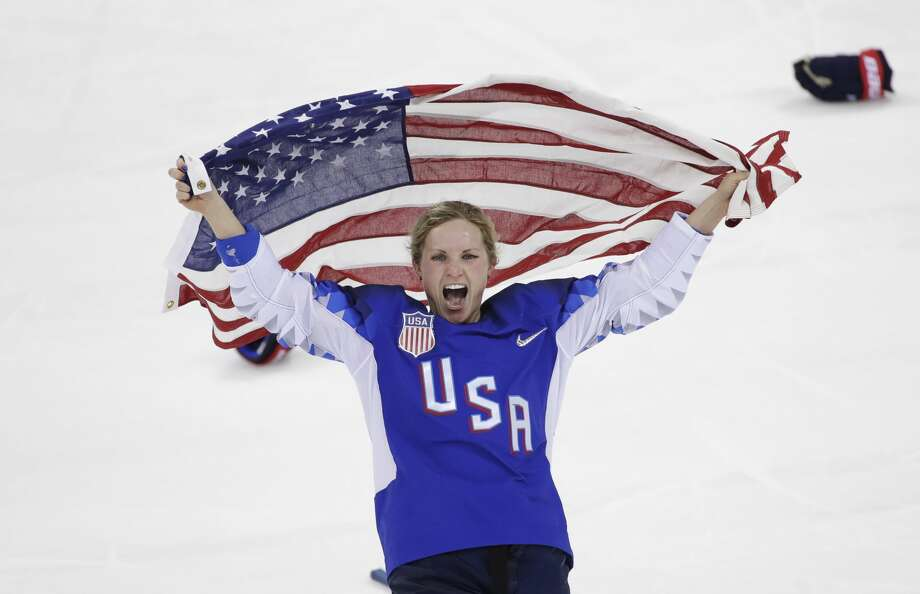 Jocelyne Lamoureux-Davidson (17), of the United States, celebrates after winning against Canada in the women's gold medal hockey game at the 2018 Winter Olympics in Gangneung, South Korea, Thursday, Feb. 22, 2018. (AP Photo/Matt Slocum) Photo: Matt Slocum/Associated Press