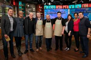 Alex Padilla (center) with The Chew hosts, judges and West Coast chefs.