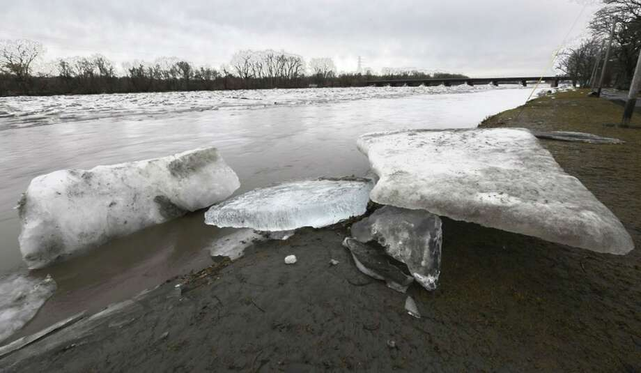 Large chunks of ice were forced to the shore of the Mohawk River as the water receded in the Stockade neighborhood of Schenectady on Thursday, Feb. 22, 2018. (Skip Dickstein/Times Union) Photo: Skip Dickstein/Times Union