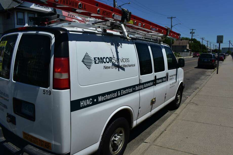 An Emcor service vehicle in Bridgeport, Conn. in July 2017. Photo: Alexander Soule / Hearst Connecticut Media / Stamford Advocate