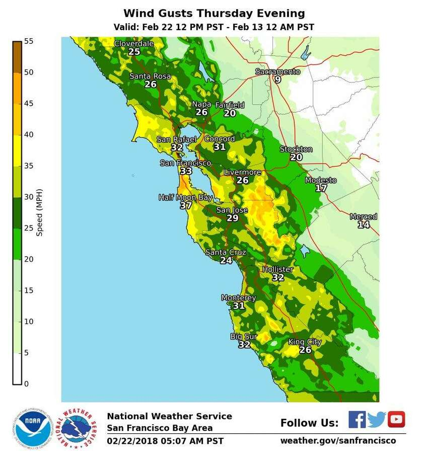 Gusty winds and scattered showers are expected in the Bay Area on Thursday, according to the National Weather Service.