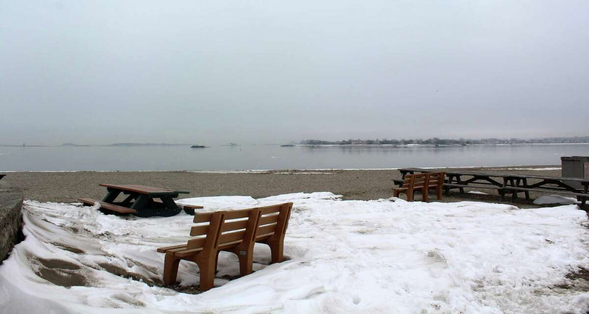 Compo Beach in Westport was still snowy on the morning of Jan. 11, 2018
