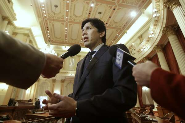 File-In this Thursday, Jan. 4, 2018, file photo, State Senate President Pro Tem Kevin de Leon, D-Los Angeles talks to reporters in Sacramento, Calif. When lawmakers return from the President's Day weekend, Tuesday, Feb. 22, 2018, they will learn whether an investigation clears state Sen. Tony Mendoza, D-Artesia, of sexual misconduct allegations or sets him up for a possible expulsion. While lawmakers seek to downplay the practical impact, all the attention on sexual misconduct is clearly taking time away from other issues. De Leon used to rent a room at Mendoza's Sacramento home. (AP Photo/Rich Pedroncelli, File)