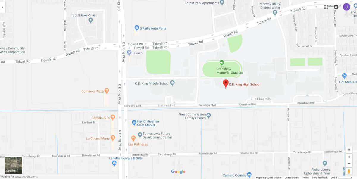 FILE - A screenshot of a Google Maps image of C.E. King High School in Houston, Texas. Friday, officials locked down the school after someone posted a threat on social media.