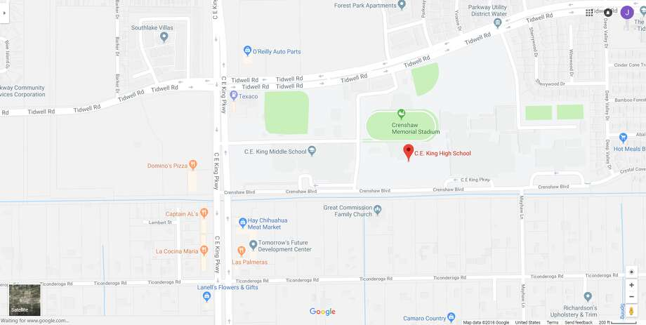 FILE - A screenshot of a Google Maps image of C.E. King High School in Houston, Texas. Friday, officials locked down the school after someone posted a threat on social media. Photo: File/Google