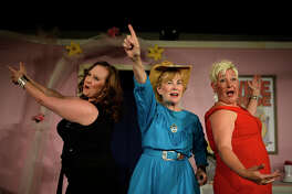 "From left, Erica Reagan, Paula Waldrop, and Sara Anderson during reheasal for Maverick Players upcoming production ""The Last Roundup of the Guacamole Queens"" Feb. 21, 2018. James Durbin/Reporter-Telegram"
