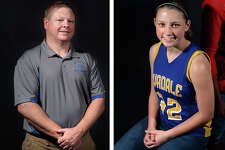 Evadale High School senior Michaela Terry was named District 24-2A girls basketball All-District MVP while her coach, Robert Hollyfield, was named Coach of the Year. (Enterprise file photos)