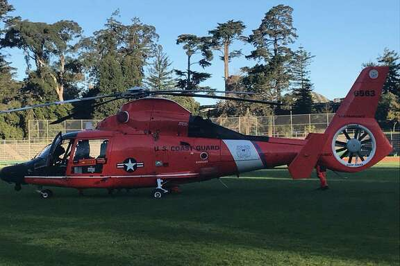 A maintenance light went on in this U.S. Coast Guard helicopter, leading pilots to conduct an emergency landing in Golden Gate Park on Thursday morning.