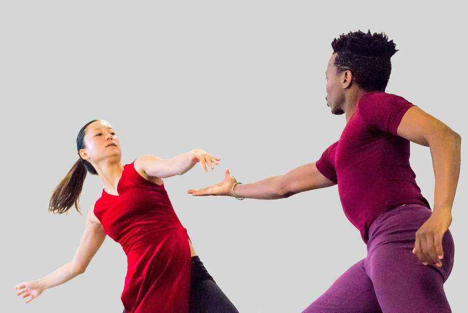 "Norma Fong and Lindokuhle Odwa Makanda rehearse ""BootstrapTales,"" a new work in the season-opening show from modern dance company Robert Moses' Kin. Photo: Steve Disenhof"